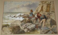 Original 1864 Henry Towneley Green Watercolor Painting Children by the Sea Shore
