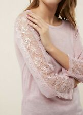 NEW Next Blush Lace Sleeve Sweater Womens Girls Size 12 RRP £28
