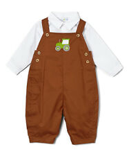 NWT PETIT POMME 24 Months Brown Tractor Appliqué Overalls & White Button-Up 24M
