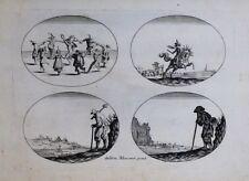Eau-forte, Différents dessins , Moncornet, d'après Callot, 1622