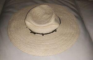 Womens Sz S/M GAP Straw Twine Accent Floppy Boho Beach Hat
