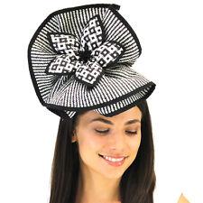 L@@K BLACK & WHITE Jendi Formal Spring Racing Fascinator Hat Headband