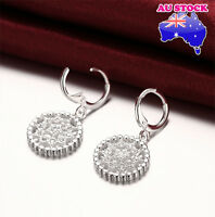 925 Sterling Silver Filled  Zircon Crystal Solid Round Drop Leverback Earrings