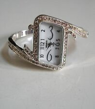 Designer  silver finish with rhinestones bangle cuff fashion women's wrist watch