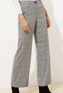 NWT Ann Taylor Loft High Waist Trouser Gray Plaid Sz 0