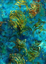 Fish in Avocado & Gold On Teal Background By Batik Textiles-Batik Prints-BTY