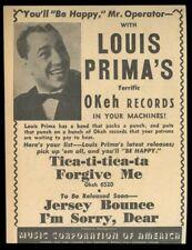 1942 Louis Prima photo MCA music trade booking print ad