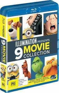 ILLUMINATION 9 Movie Blu-ray collection LORAX MINION PETS DESPICABLE GRINCH SING