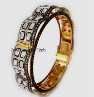 Natural Diamond Polki & Pave Diamond Gold & 925 Sterling Silver Bangle Bracelet