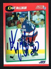 Dave McLlwain #233 signed autograph 1991-92 Score Hockey Canadian Release Card