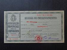 BANCONOTA BUONO DI PRELEVAMENTO SAVIGLIANO LEVALDIGI 21 1 1943 XXI NUM SUBALPINA