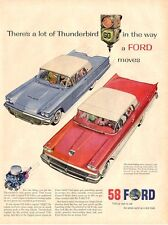 1958 Ford  Blue Thunderbird & Red Skyline Great Vintage Decor PRINT AD