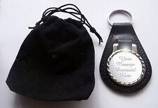 Personalised Engraved Leather Key Fob Keyring 3rd Anniversary Wedding Birthday