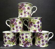 Set Of 6 Pansy White Small English Fine Bone China Mugs Cups By Milton China