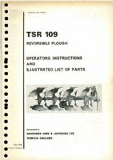 RANSOMES REVERSIBLE PLOUGH TSR 109 OPERATORS MANUAL & ILLUSTRATED PARTS