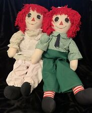 LARGE Raggedy Ann and Andy Cloth Dolls  36 Inch Signed Hand Made
