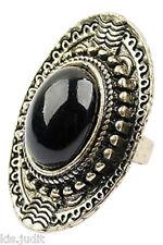 Bellissimo anello ovale vintage regolabile con centrale nero - Bronzo