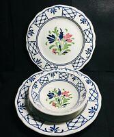 Johnson Brothers Provincial Blue Folk Art Scalloped Plates/Bowl Set -England
