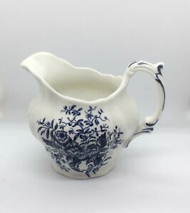 Booths PEONY Made In England Fine China Creamer Milk Pitcher Blue & White A8021