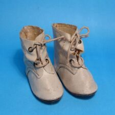 """Nice Antique 1930's French/German White Leather-Like Boy/Girl Doll Boot/Shoes 2"""""""