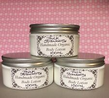 Handmade Organic Thick Strawberry Scented Shea Butter Body Lotion 100ml Tub