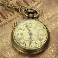 Antique Vintage Bronze Glass Steampunk Pocket Watch Chain Necklace Pendant Gifts
