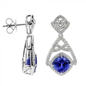 4.62CT Cushion Cut Tanzanite With Crystal Clear White CZ Dangle Party Earrings