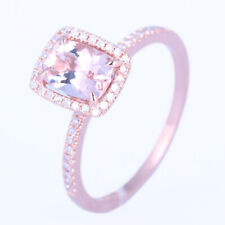 Solid 14K Rose Gold Cushion Cut Morganite Diamond Jewelry Wedding Party Ring