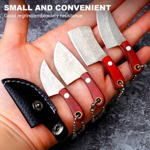 World Smallest Knife Keychain Damascus steel Pattern Outdoor Camping Hanging EDC