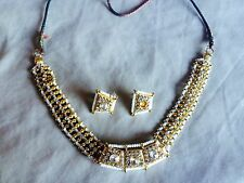 Ladies Indian Bollywood Style Costume Jewellery Set - Gold White Pearl Diamante