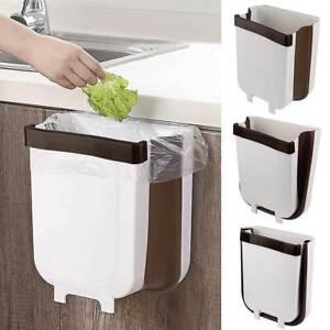 Faltbarer Mülleimer Abfalleimer Küche Badezimmer Camping Auto Wandmontage Weiß