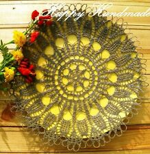 HaHa Large Grey Linen Crochet 32cm (12.5 inch) Round Doily
