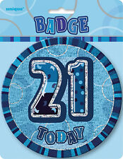 21st BIRTHDAY BADGE PARTY SUPPLIES BLUE HOLOGRAPHIC 15cm FOR THE BIRTHDAY GIRL