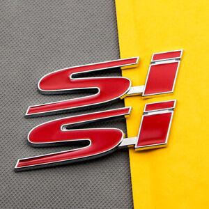 2Pcs Metal Civic Si Red Emblem Decal Chrome Car Trunk Sport MUGEN Badge Sticker