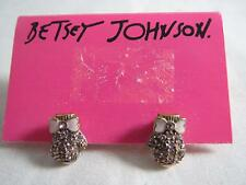Betsey Johnson ski buny pink crystal mitten stud earrings rare, NWT