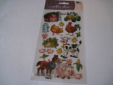 Scrapbooking Stickers Sticko Farm Friends Barn Horse Cow Pig Tractor Rooster