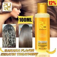 Purc 12% Banane Parfum Traitement Kératine Lissage Cheveux Réparation Dégât +A
