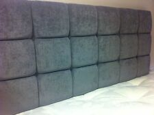 "5ft King Size 24"" High Grey Chenille Buttoned Headboard"