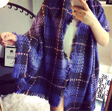 Ladys Blanket Oversized Tartan Scarf Wrap Shawl Plaid Winter Pashmina purple AU*