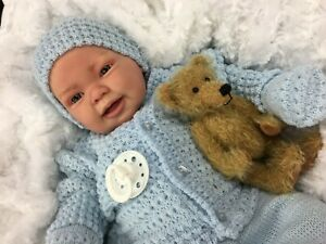 REBORN BABY BOY DOLL BLUE SPANISH KNITTED SET WITH DUMMY  Su