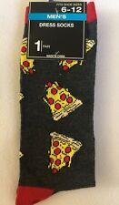 Mens Gray pizza Crew Socks Shoe Size 6-12 NWT