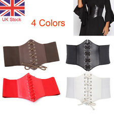 UK Ladies Waist Cincher Wide Band Elastic Tied Waspie Corset Leather Belt