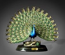 GORGEOUS PEACOCK BRONZE SCULPTURE Peafowl Statue FIGURINE by  BARRY STEIN