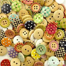 100pcs Assorted Wood Round Grid/Dots Sewing  Round Buttons Lot 15mm Craft Cards