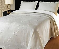 Luxury Cream Throw Quilted Bedspread & Pillow Shams  260 x 260 cm King Size Bed