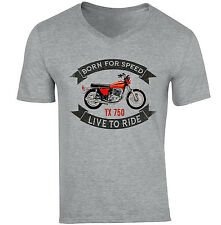 YAMAHA TX 750-NUOVA cotone grigio V-Neck T-shirt