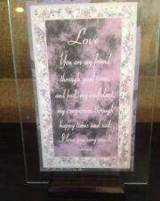 Love Plaque with Wood base 4X6 in. Printed on Glass-great Gift Idea New In Box