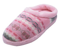 LADIES PINK SLIP-ON MULES INDOOR HARD SOLE SLIPPERS WARM COMFY HOUSE SHOES 3-7