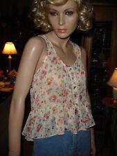 Iris Basic Semi Sheer Ruffled Sleeveless Pink/Beige Floral Hi/Low Top Shirt Sz S