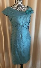 NWT London Times Women's Teal Blue Shimmer Shutter Gown with Detail 4P